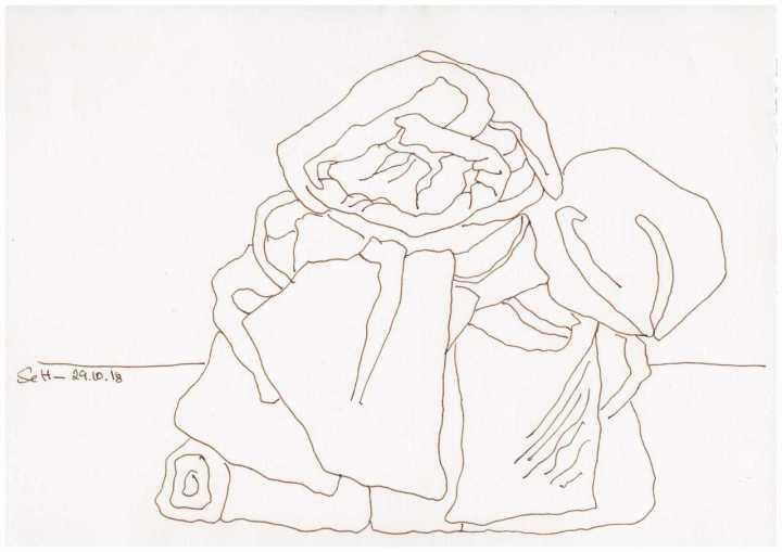 Obdachlos - Alles was ich habe Version 2 - Zeichnung von Susanne Haun - 20 x 30 cm (c) VG Bild Kunst, Bonn 2018
