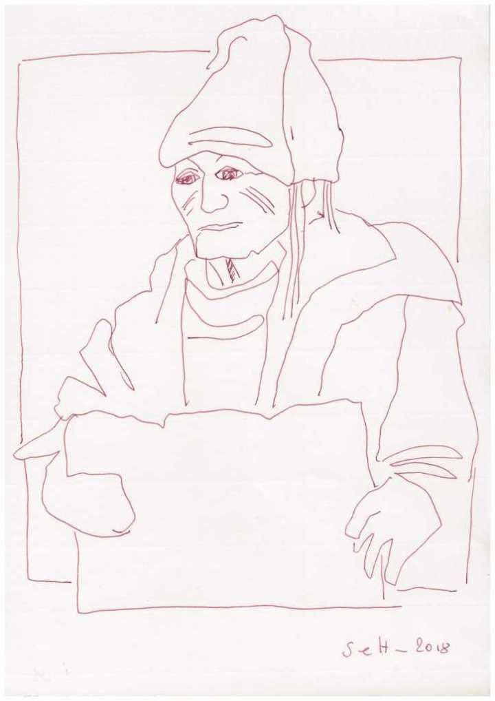 Obdachlos - Zeitungsverkäufer Version 1 - Zeichnung von Susanne Haun - 20 x 30 cm (c) VG Bild Kunst, Bonn 2018