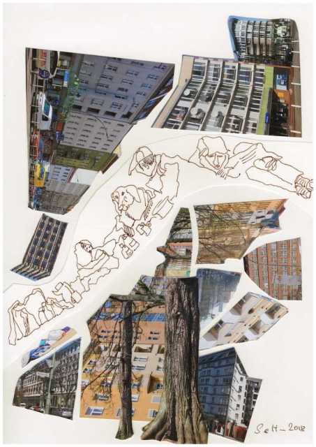 Obdachlos in der Stadt - 20 x 30 cm - Collage von Susanne Haun (c) VG Bild Kunst, Bonn 2018