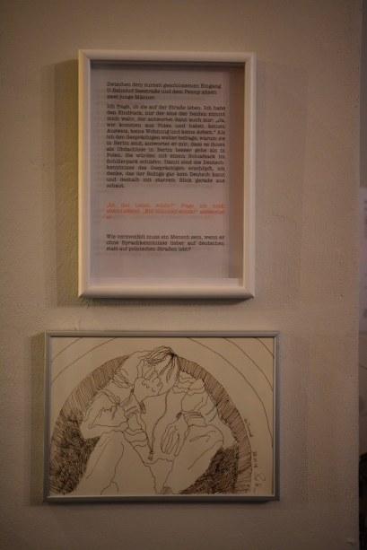 Café Motte, Ausstellungsort Querbrüche Obdachlos, Zeichnungen von Susanne Haun © Foto von M.Fanke