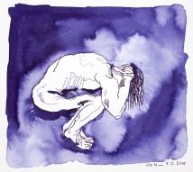 Alles um ihn her war in tiefes Dunkel gehüllt - Tusche auf Aquarellkarton - 32 x 28 cm - Zeichnung von Susanne Haun (c) VG Bild Kunst, Bonn 2018