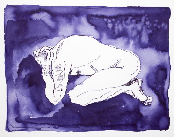 Alles um ihn her war in tiefes Dunkel gehüllt - Tusche auf Aquarellkarton - 24 x 32 cm - Zeichnung von Susanne Haun (c) VG Bild Kunst, Bonn 2018