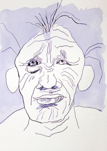 Dann entdeckte er, dass er einen Kopf hatte - Tusche auf Bamboo Hahnemühle Mixed Media Papier - Zeichnung von Susanne Haun (c) VG Bild Kunst, Bonn 2018