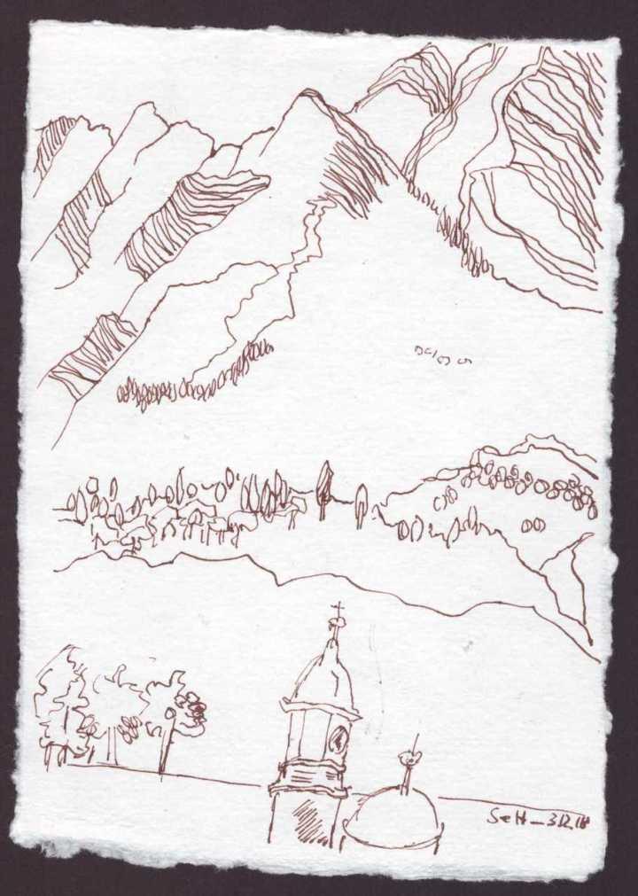 Ich schaue aus dem Fenster und imaginiere die Erhabenheit der Berge - 15 x 20 cm - Silberburg Büttenpapier - Zeichnung von Susanne Haun (c) VG Bild Kunst, Bonn 2018