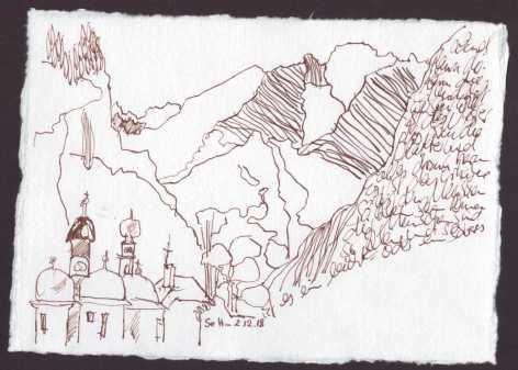 Ich schaue aus dem Fenster und imaginiere die Erhabenheit der Berge - Version 2 - 15 x 20 cm - Silberburg Büttenpapier - Zeichnung von Susanne Haun (c) VG Bild Kunst, Bonn 2018