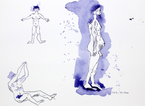 1 Schwangerer Mann und andere Figuren aus dem Mythos der Inuit, 21 x 32 cm, Tusche auf Aquarellkarton, Zeichnung von Susanne Haun (c) VG Bild-Kunst, Bonn 2019