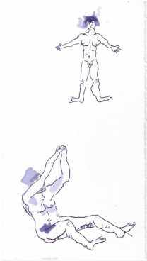 2 Figuren aus dem Mythos der Inuit, Tusche auf Aquarellkarton, Zeichnung von Susanne Haun (c) VG Bild-Kunst, Bonn 2019