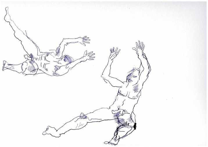 3 Figuren aus dem Mythos der Inuit, Tusche auf Aquarellkarton, Zeichnung von Susanne Haun (c) VG Bild-Kunst, Bonn 2019