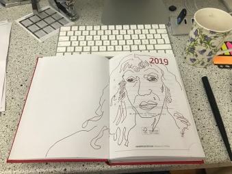 Die erste Zeichnung des Jahres 2019, Foto und Zeichnung von Susanne Haun (c) VG Bild-Kunst 2019