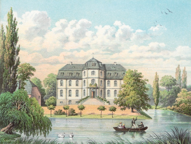 Schloss Türnich um 1860, Sammlung Alexander Duncker, https://digital.zlb.de/viewer/file?pi=14779821_12&file=700_T%C3%BCrnich_165_abbildung.tif