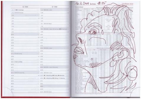 Selbstbildniss Tagebuch 05.02. - 16.022019, Zeichnung von Susanne Haun (c) VG Bild-Kunst, Bonn 2019