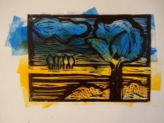 Druck von der 5. Bearbeitungsstufe - schwarz auf Gelb und Blau gerollte Farbe, Foto von Susanne Haun (c) VG Bild-Kunst, Bonn 2019