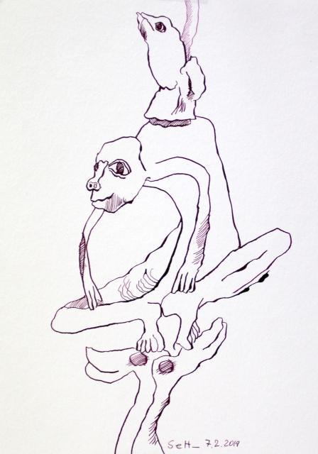 Das immer wieder Zeichnen von Linien, Zeichnung von Susanne Haun 32 x 24 cm, Tusche auf Hahnemuehle Aquarellkarton (c) VG Bild-Kunst, Bonn 2019