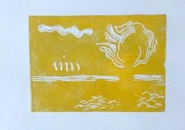 Der erste Druck mit gelber Farbe auf Sunmi-e Papier von Hahnemühle, Foto von Susanne Haun (c) VG Bild-Kunst, Bonn 2019