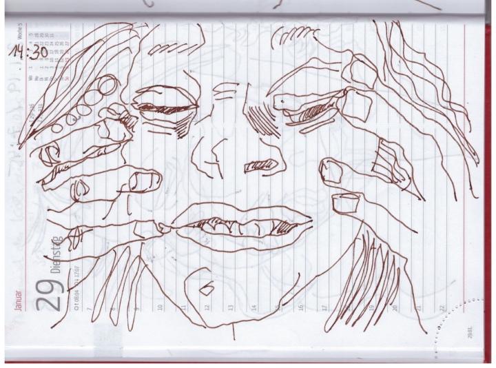 Selbstbildniss Tagebuch 23.1. - 4.2.2019, Zeichnung von Susanne Haun (c) VG Bild-Kunst, Bonn 2018