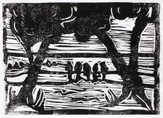 Bild 4 - Zwischen Straupitz und Laasow - Version 1 - Linolschnitt von Susanne Haun - 15 x 21 cm - 12 von 12Bild 4 - Zwischen Straupitz und Laasow - Version 1 - Linolschnitt von Susanne Haun - 15 x 21 cm - 12 von 12