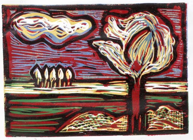 Bild 5 - Zwischen Straupitz und Laasow - Version 2 - Linolschnitt von Susanne Haun - 15 x 21 cm - 1 von 23