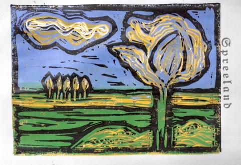 Bild 7 - Zwischen Straupitz und Laasow - Version 2 - Linolschnitt von Susanne Haun - 15 x 21 cm - 3 von 23