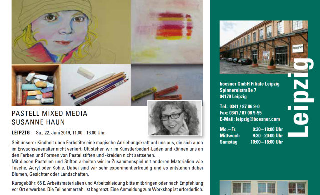Zeichnen mit Pastell Mixed Media mit Susanne Haun bei boesner in Leipzig