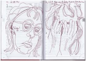 Selbstbildniss Tagebuch 17.2. - 4.3.2019, Zeichnung von Susanne Haun (c) VG Bild-Kunst, Bonn 2019
