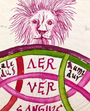 Detail Löwe des Diagramms Mundus Annus Homo, 40 x 40 cm, Tusche auf Aquarellkarton, 2019, Zeichnung von Susanne Haun (c) VG Bild-Kunst, Bonn 2019