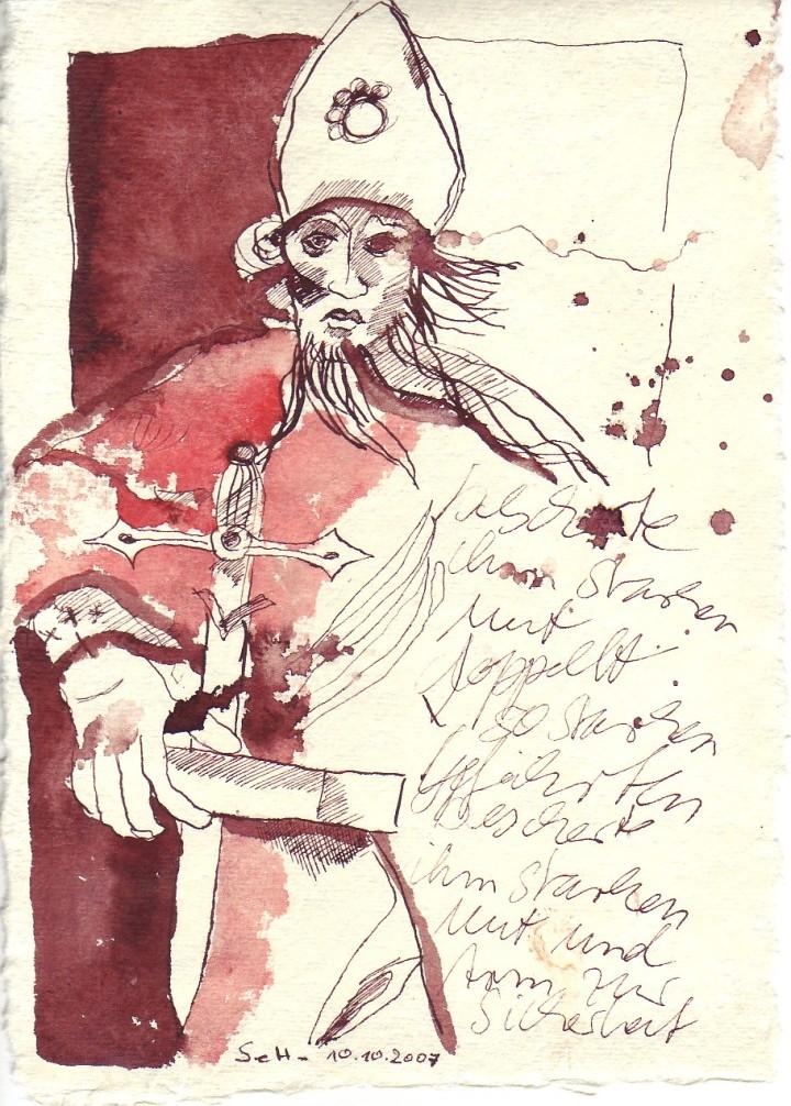 Auf sieben Bogen, Bonifazius, Tusche auf Silberburg Büttenpapier, 2007 15 x 20 cm (c) Zeichnung von Susanne Haun