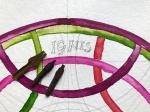 Das erste Wort habe ich mir mit Bleistift vorgezeichnet, Entstehung des Diagramms Mundus Annus Homo, 40 x 40 cm, Tusche auf Aquarellkarton, 2019, Zeichnung von Susanne Haun (c) VG Bild-Kunst, Bonn 2019