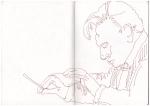 Skizzenbuch, Karajan nach youtube, Zeichnung von Susanne Haun (c) VG Bild-Kunst, Bonn 2019