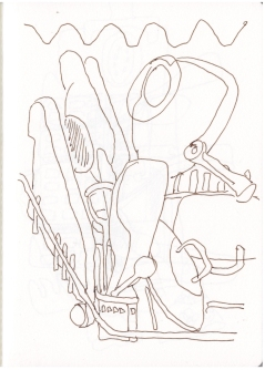 Skizzenbuch 10.4.2019, Zeichnung von Susanne Haun (c) VG Bild-Kunst, Bonn 2019