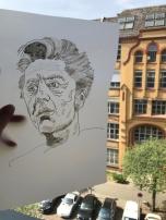 Entstehung der Collage Karajan, 30 x 40 cm, 2019, Zeichnung von Susanne Haun (c) VG Bild-Kunst, Bonn 2019.