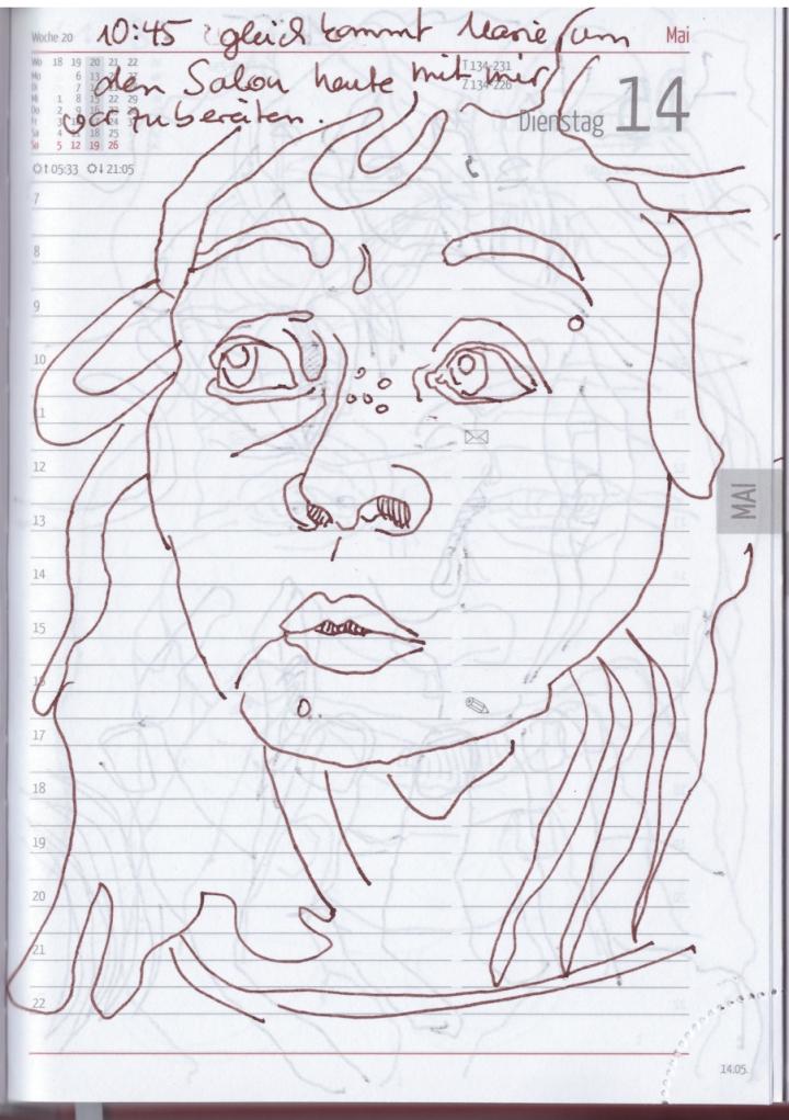 Selbstbildnisstagebuch 1.5. - 20.5., Zeichnung von Susanne Haun (c) VG Bild Kunst, Bonn 2019