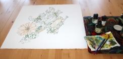 Entstehung Paradiesvogel für Itha, 50 x 50 cm, Zeichnung von Susanne Haun (c) VG Bild-Kunst, Bonn 2019