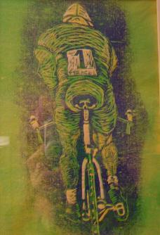 Der schnellste von Allen, Radfahrer, Linolschnitt von Susanne Haun (c) VG Bild-Kunst, Bonn 2019