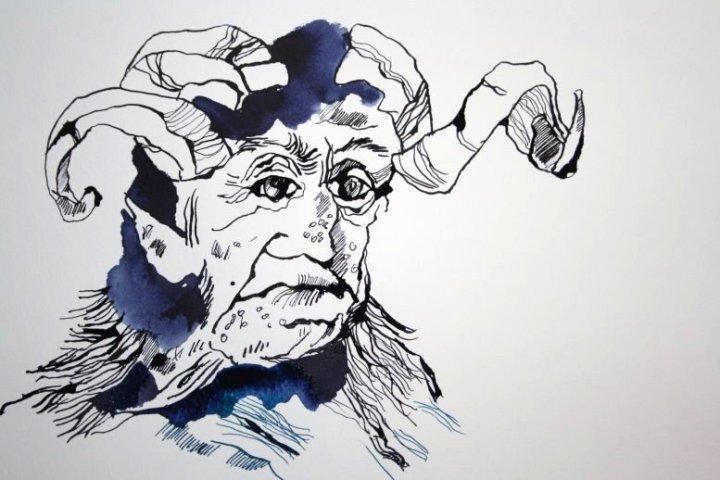 Ein Gruselwesen der Inuit, Zeichnung von Susanne Haun (c) VG Bild Kunst, Bonn 2019