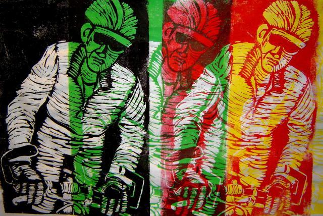 eloton 2, Radfahrer, Linolschnitt von Susanne Haun (c) VG Bild-Kunst, Bonn 2019
