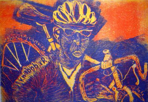 Rad tragend, Radfahrer 2, Linolschnitt von Susanne Haun (c) VG Bild-Kunst, Bonn 2019