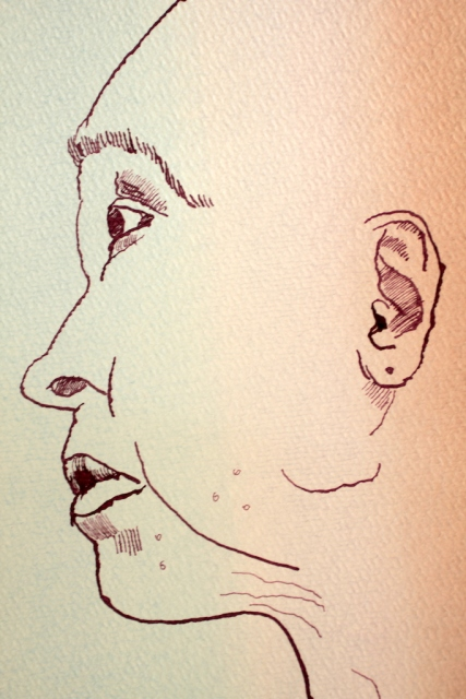 Entstehung Susanne Haun Halbprofil in braun - blau, 30 x 40 cm, Zeichnung von Susanne Haun (c) VG Bild Kunst, Bonn 2019
