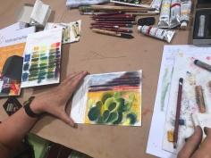 Impressionen Workshop Pastell Mixed Media bei boesner Leipzig (c) Foto von Susanne Haun