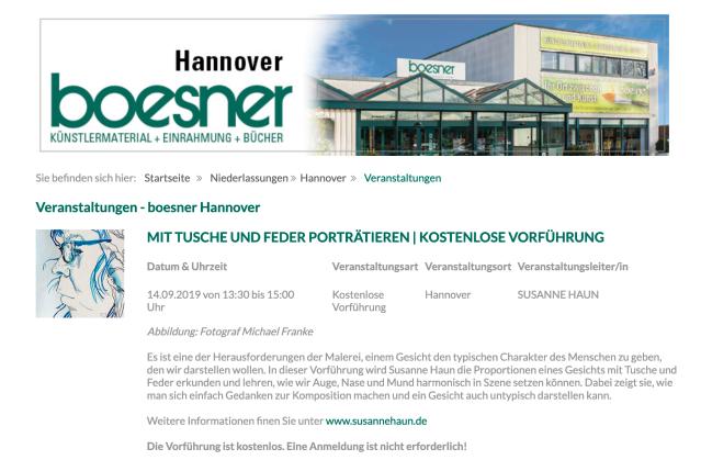 Susanne Haun bei Boesner in Hannover, Kostenlose Vorführung zum Thema Portrait