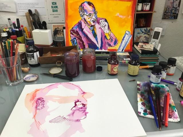 Entstehung meines Sinnbilds von Gregor Gysi, 30 x 40 cm, Tusche auf Hahnemuehle Aquarellkarton, Zeichnung von Susanne Haun (c) VG Bild-Kunst, Bonn 2019