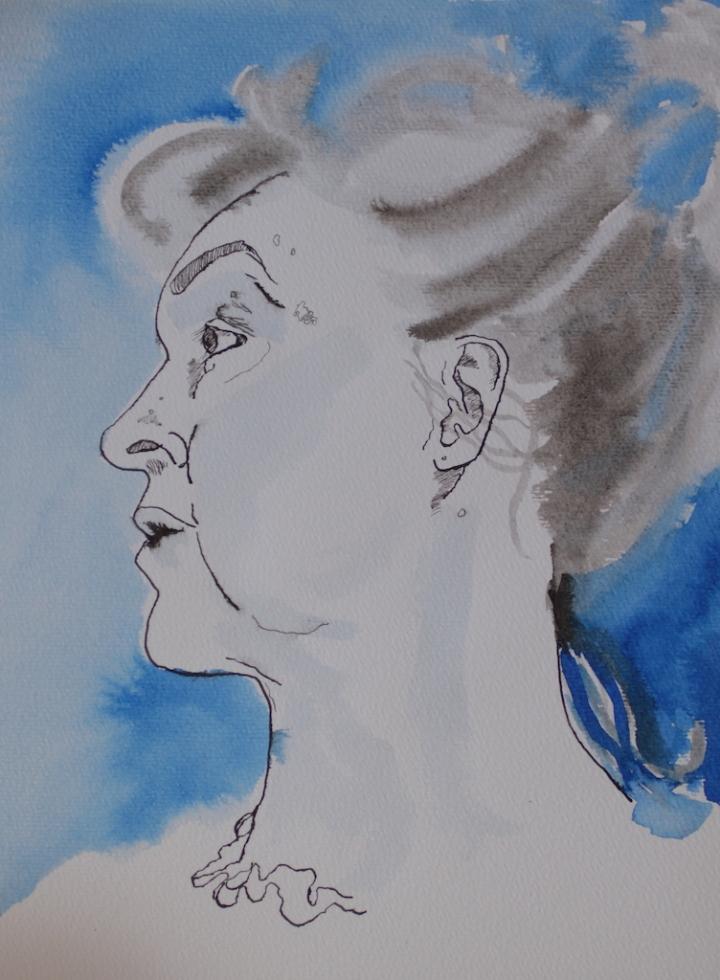 Selbst im Halbprofil, 30 x 40 cm, Tusche auf Hahnemuehle Aquarellkarton, Zeichnung von Susanne Haun (c) VG Bild-Kunst, Bonn 2019