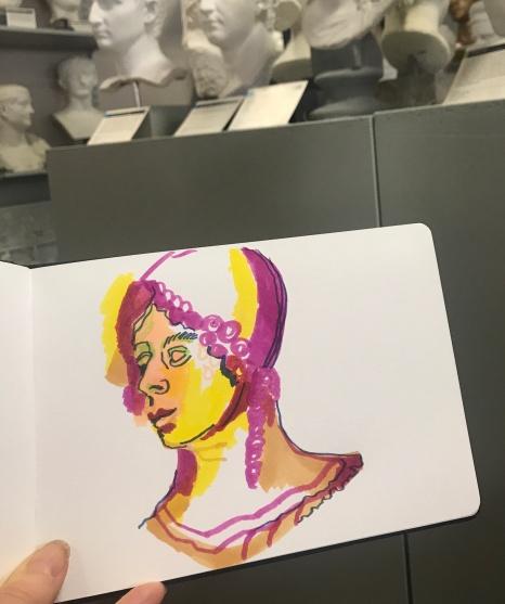 Portraitstudie in der Abgusssamlung Berlin, Zeichnung von Susanne Haun (c) VG Bild-Kunst, Bonn 2019