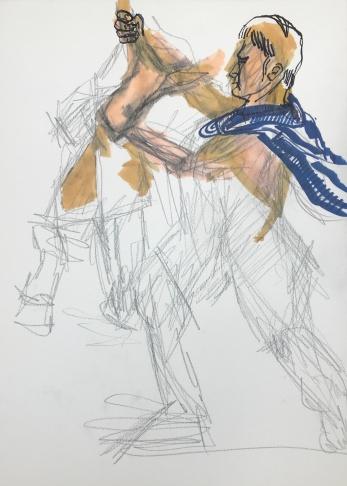 Studie zum Farnesische Stier in der Abgusssammlung Berlin, Zeichnung von Susanne Haun, Bleistift und Marker (c) VG Bild-Kunst, Bonn 2019