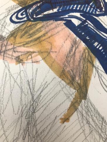 Detail Studie zum Farnesische Stier in der Abgusssammlung Berlin, Zeichnung von Susanne Haun, Bleistift und Marker (c) VG Bild-Kunst, Bonn 2019