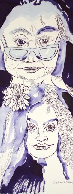 Mein Sinnbild von Yoko Ono, 50 x 20 cm, Tusche auf Hahnemühle Aquarellkarton, Zeichnung von Susanne Haun (c) VG Bild-Kunst, Bonn 2019