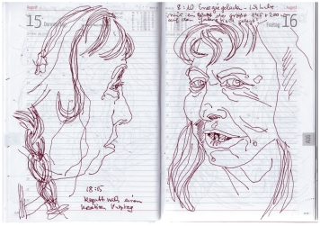 Selbstbildnisstagebuch 1.8. bis 22.8.2019, Zeichnung von Susanne Haun (c) VG Bild-Kunst, Bonn 2019