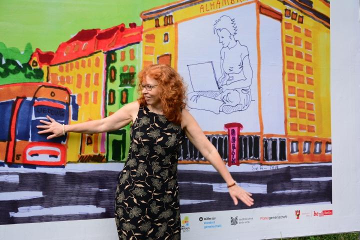 Eröffnung von Mein Wedding 6, Zeichnung von Susanne Haun, Foto von Michael Fanke