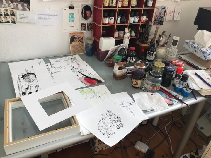 Alltag im Atelier Susanne Haun - Bilder Rahmen (c) VG Bild-Kunst, Bonn 2019