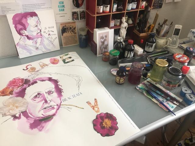 Entstehung Mein Sinnbild von Gertrude Stein, 65 x 50 cm, Tusche auf Hahnemuehle Aquarellkarton, Collage von Susanen Haun (c) VG Bild-Kunst, Bonn 2019