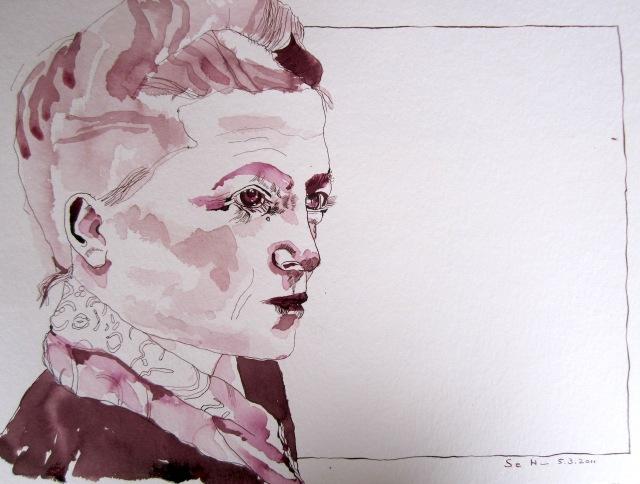 Mein Sinnbild von Simone de Beauvoir, 30 x 40 cm, Tusche auf Hahnemuehle Aquarellkarton, Zeichnung von Susanne Haun (c) VG Bild-Kunst 2019